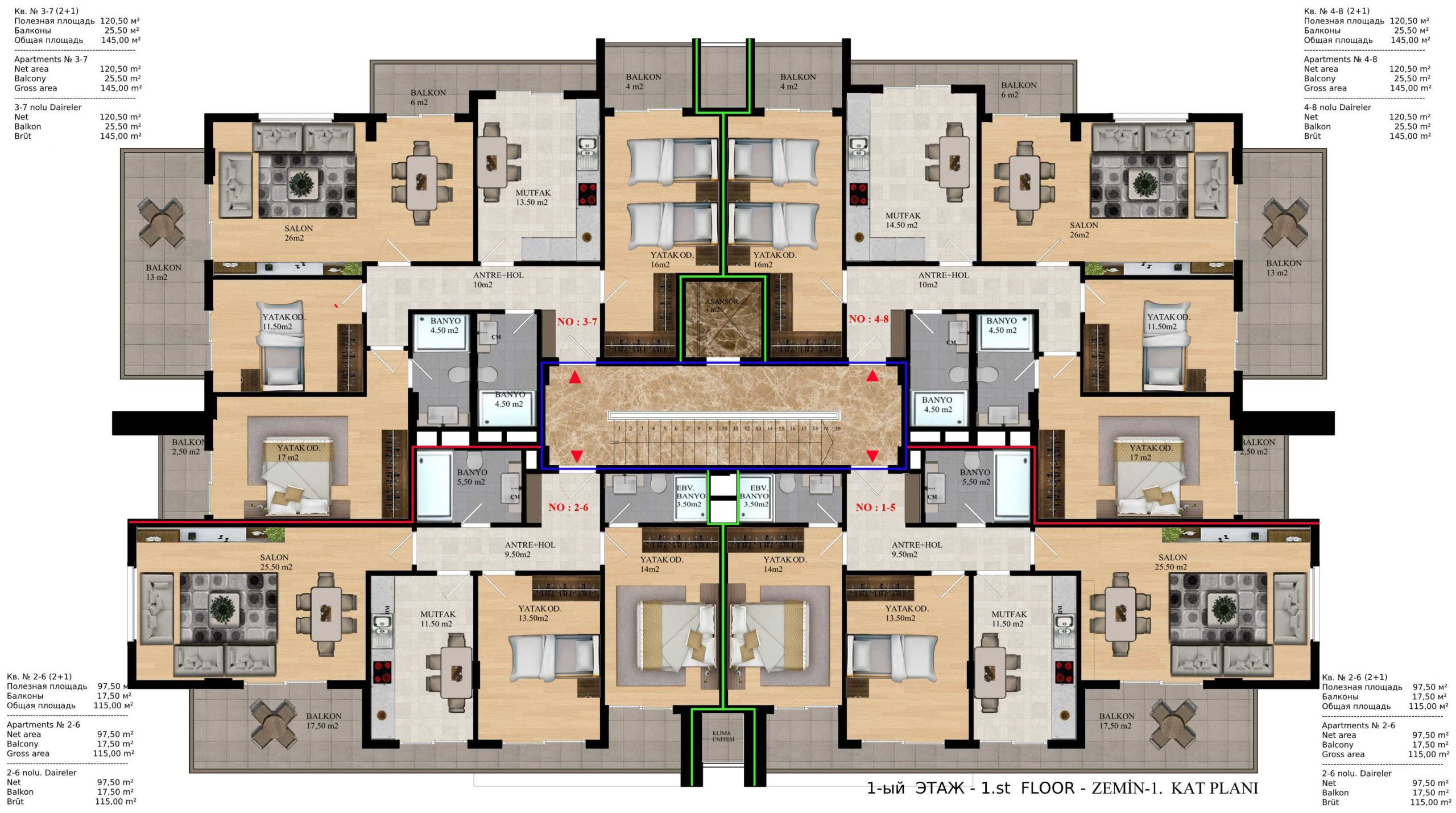 2+1 Квартира на стадии строительства в самом престижном районе
