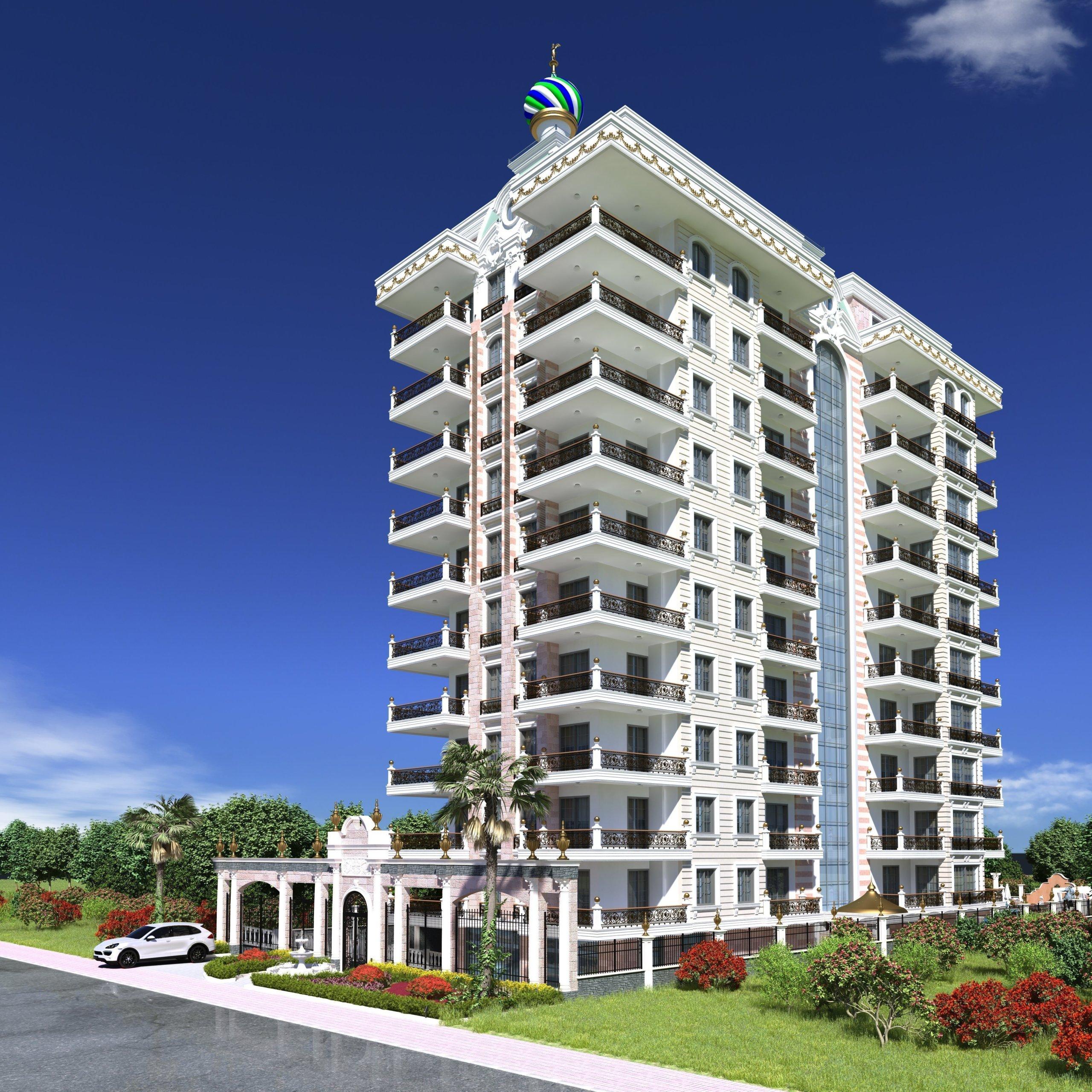 3+1 Меблированная квартира на первой линии моря в строящемся объекте