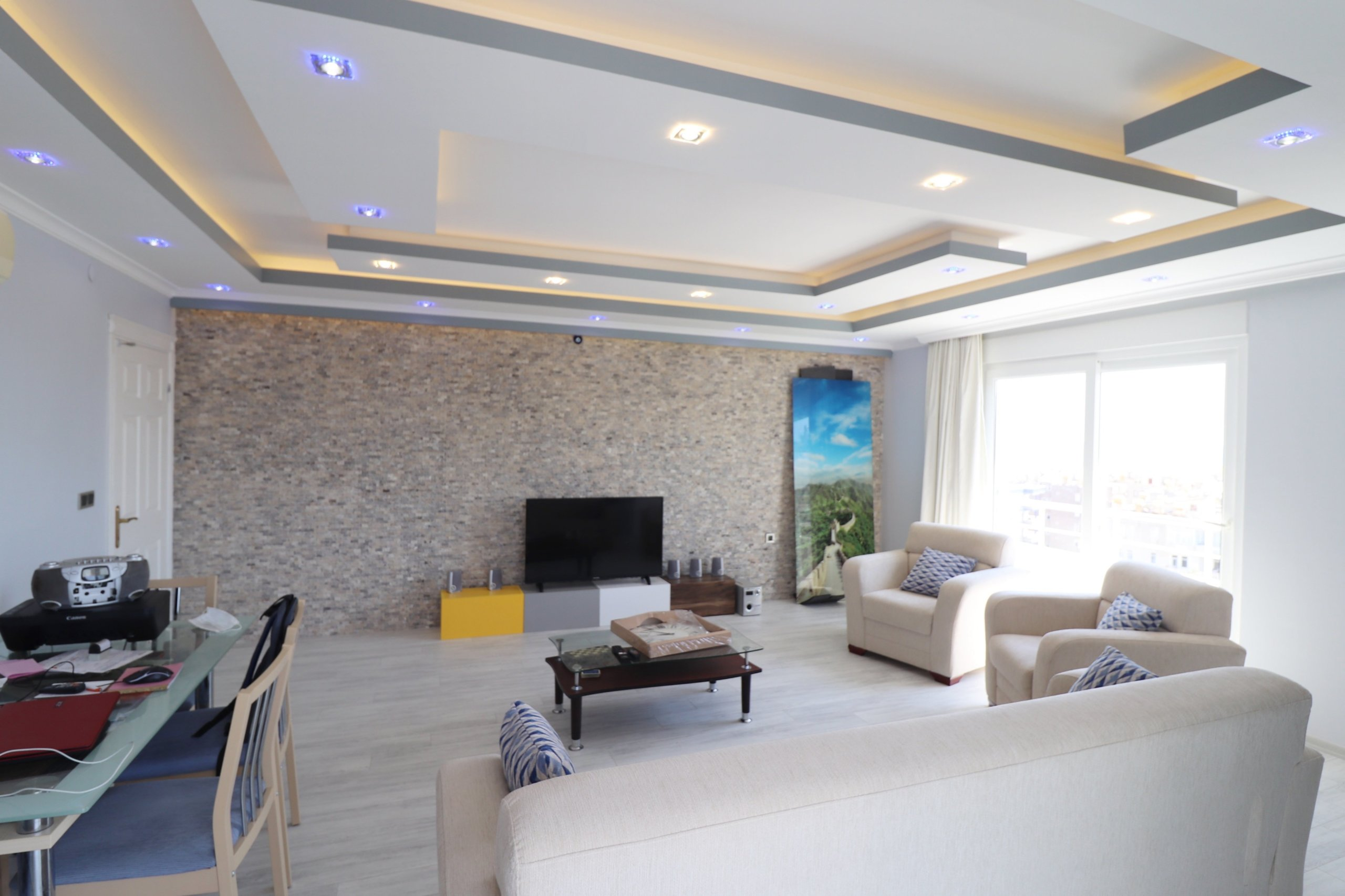 2+1 Меблированная квартира с красивым панорамным видом на море и горы