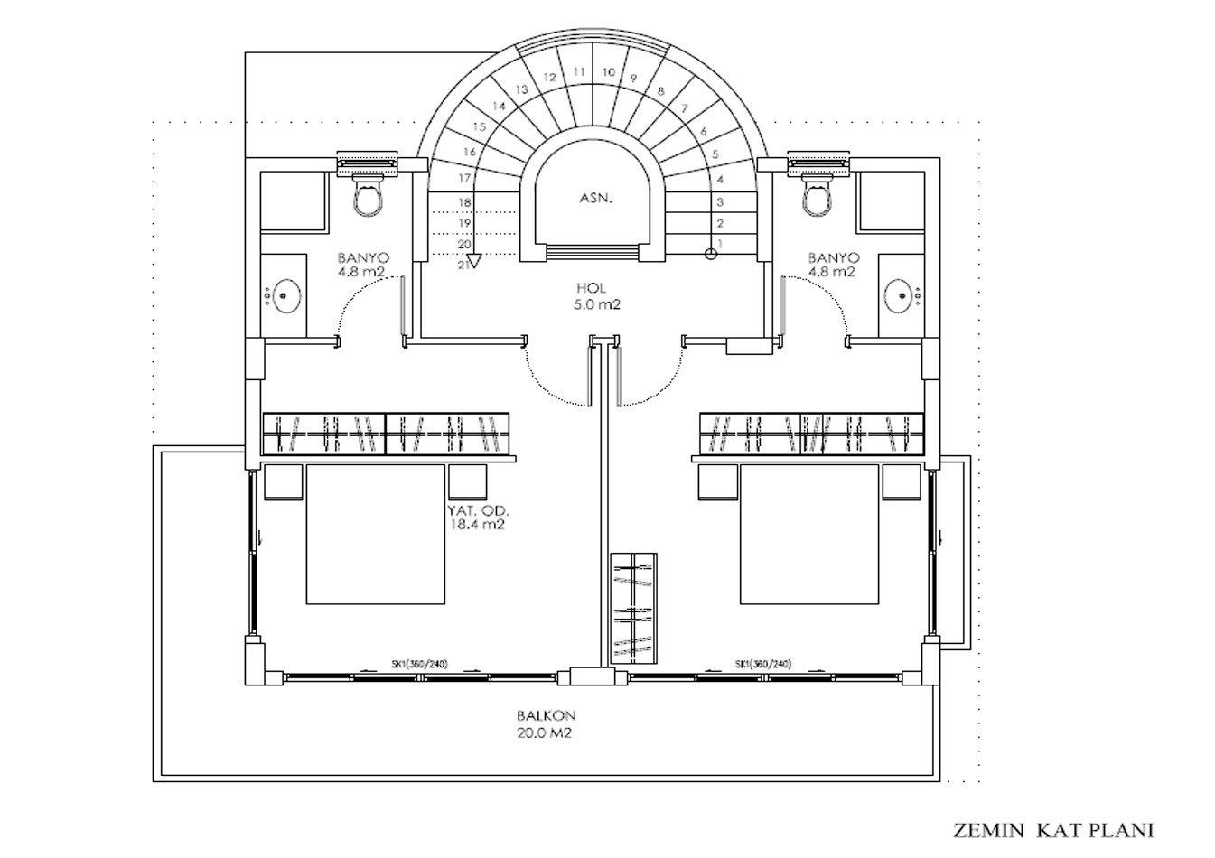 Четырехэтажная частная вилла на первой линии моря в жилом комплексе в Каргыджак