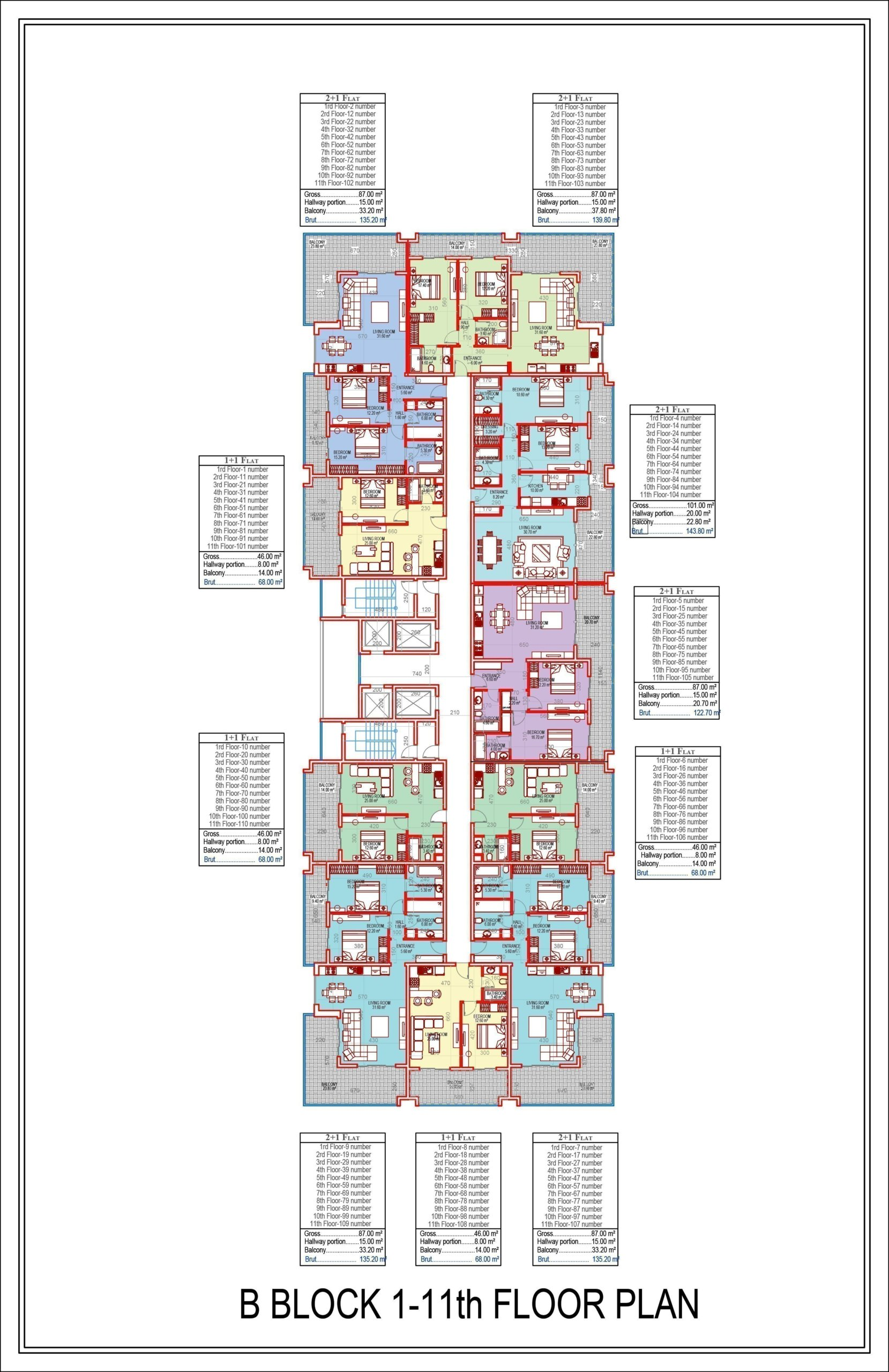 Квартиры планировки 1+1, 2+1, 3+1 и 4+1 в строящемся комплексе