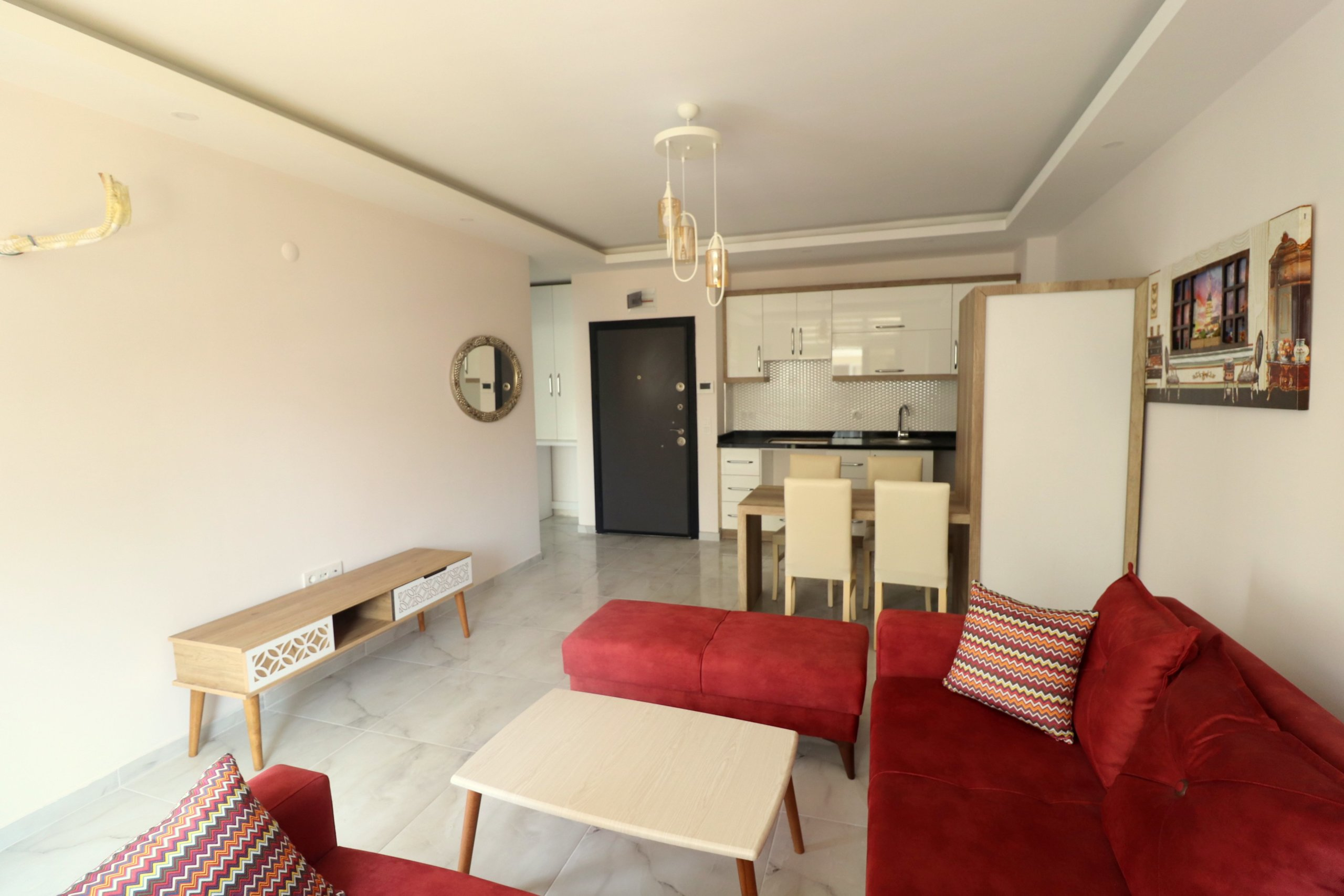 Алания Махмутлар Квартира Планировки 1+1 с Мебелью в Доме с Бассейном