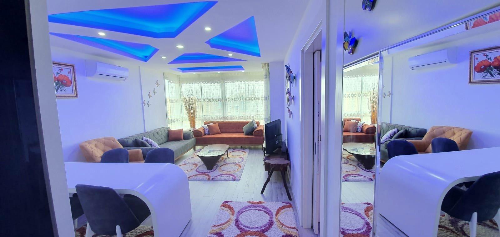 1+1 Меблированная квартира на высоком этаже с панорамным видом на море