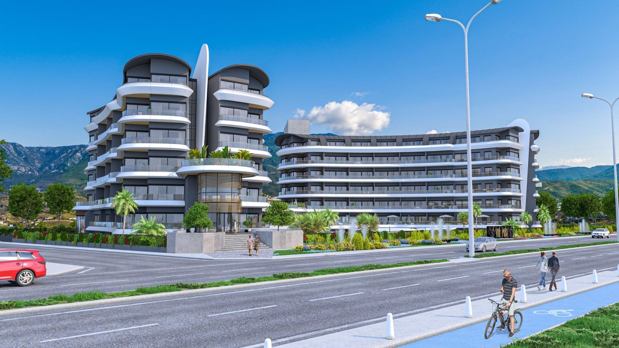 1+1 Квартиры в шикарном жилом комплексе на первой линии моря в Каргыджак