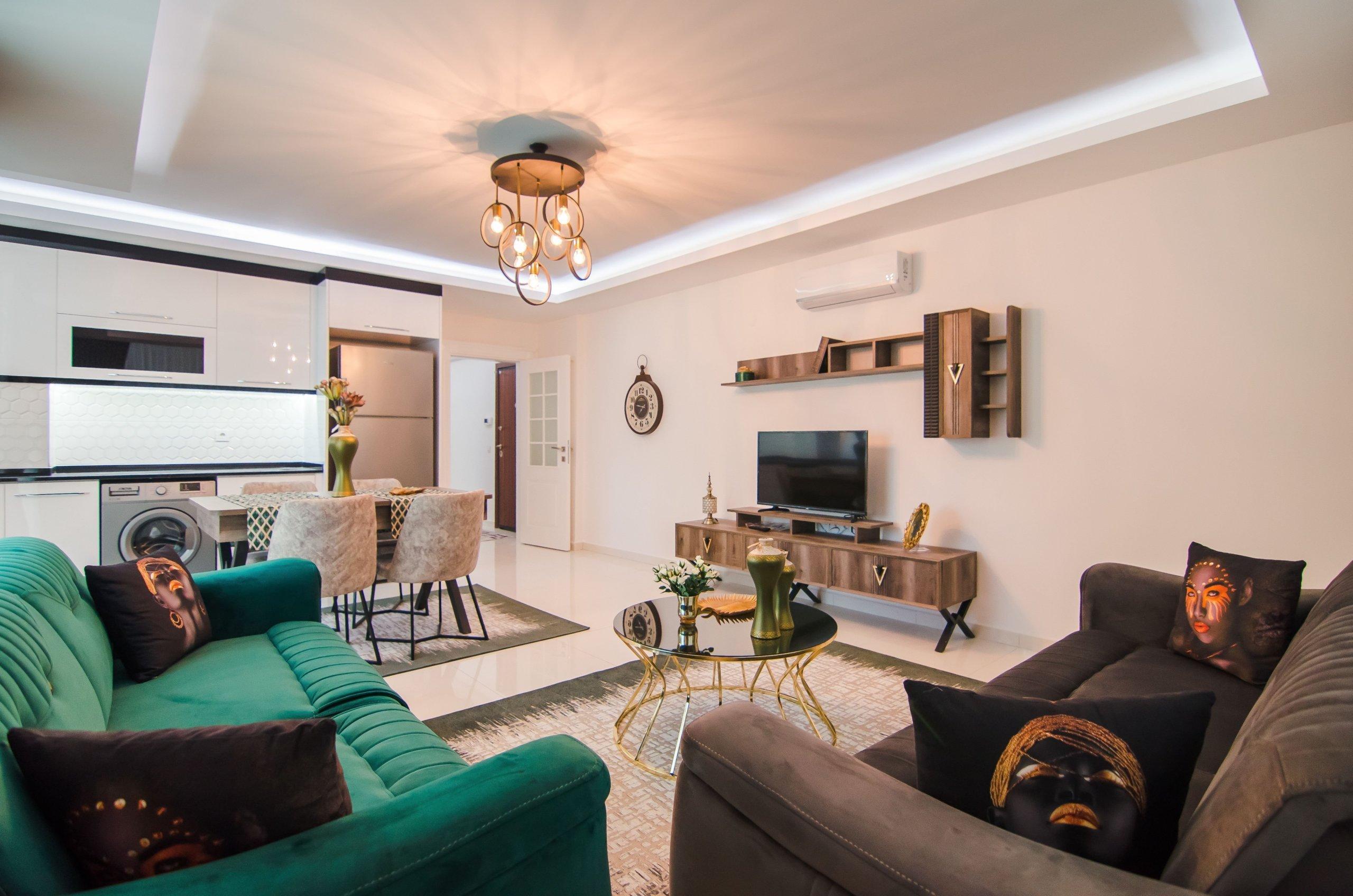2+1 Полностью обустроенная красивой мебелью квартира